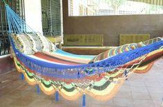 Multi Color Single Hammock handwoven Natural Cotton by hamanica,