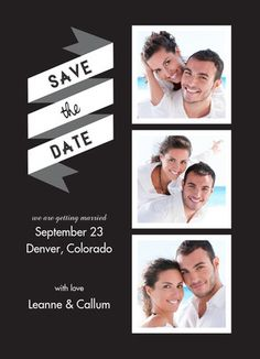 Save the Date Black & White Banner with Photos Save the Date Card