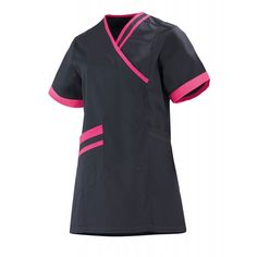 Blouse medicale femme anthracite et fuchsia Lilee - Lafont Lafont, Short Sleeve Dresses, Dresses With Sleeves, Fuchsia, Chef Jackets, Polo Shirt, Mens Tops, Shirts, Collection
