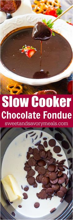 Slow Cooker Chocolate Fondue is rich, smooth and luxurious. Easy to make in the slow cooker and serve with your favorite dippers.