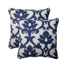Embellish indoor and outdoor furniture stylishly with the Pillow Perfect Bosco Square Throw Pillow - Set of 2 . Target Pillows, Toss Pillows, Throw Pillow Sets, Outdoor Throw Pillows, Floor Pillows, Decorative Throw Pillows, Home Depot, Blue And White Pillows, White Pillow Covers