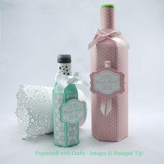 Gift Bag Punch Board Wine Bottle Sleeves with tutorials for both the standard size and mini bottles of wine,
