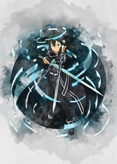 poster by from collection. Sword Art Online Poster, Sword Art Online Wallpaper, Kirito Sword, Sword Art Online Kirito, Doraemon Wallpapers, Animes Wallpapers, Arte Online, Online Art, Katana
