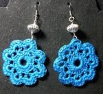 Teal Crochet Flower Earrings