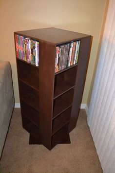 Best made plans My First Project: Spinning DVD Rack Diy Dvd Shelves, Diy Dvd Storage, Storage Ideas, Book Storage, Storage Racks, Movie Storage, Book Shelves, Hidden Storage, Living Room Shelves