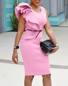 Stylish Ruffled Patchwork Sleeveless Bodycon Dress trendiest dresses for any occasions, including wedding gowns, special event dresses, accessories and women clothing. Latest Fashion Clothes, Fashion Dresses, Bodycon Dress Parties, Event Dresses, Stylish Dresses, Buy Dress, Pattern Fashion, Dresses With Sleeves, Clothes For Women