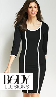 Body Illusions Two-Tone Dress - Look slimmer without skipping dinner! This ultra-slimming dress makes the most of your curves with a contouring built-in power-mesh body shaper. Get yours at mbertsch.AvonRepresentative.com #AvonFashions