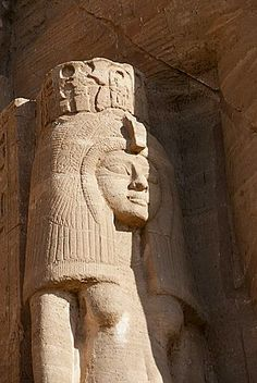 Statue at Front of Small Hathor Temple of Nefertari, Abu Simbel, Egypt