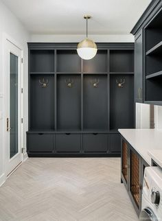 smart mudroom ideas to improve your homeMUDROOM IDEAS - The mudroom is a very important part of your home. With Mudroom you can keep your entire home clean and tidy. Mud room or you Mudroom Cabinets, Mudroom Laundry Room, Laundry Room Design, Mud Room Lockers, Built In Lockers, Mudroom Cubbies, Mudrooms With Laundry, Laundry Room Floors, Mud Room Garage