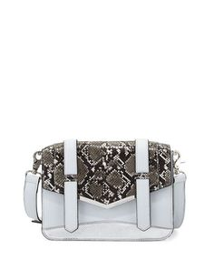 V373G French Connection Remy Snake-Embossed Crossbody Bag, Salt Water/Black/White