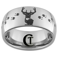 Tungsten Band 10mm Dome Deer Hunting Design Ring by CustomTungsten, $49.00