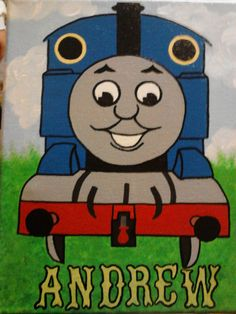 Thomas+the+Train+acrlic+painting.+by+HeyICanDoThat+on+Etsy,+$20.00