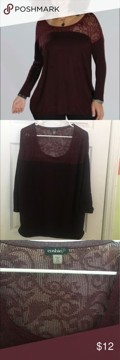 Cushie B light sweater with lace shoulders Great light sweater for transitional weather a deep wine color with lace shoulders Cushie B  Sweaters Crew & Scoop Necks