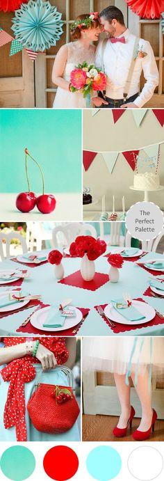 Wedding Colors I Love | Shades of Red + Aqua! http://www.theperfectpalette.com/2013/08/wedding-colors-i-love-shades-of-red-aqua.html