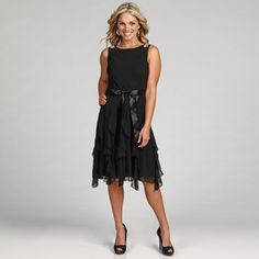 @Overstock - Embellished shoulders and a cascade ruffle highlight this fashionable dress from Jessica Howard. Fully lined, this dress is finished with a sleeveless design and belted waist.http://www.overstock.com/Clothing-Shoes/Jessica-Howard-Womens-Beaded-Ruffle-Belted-Dress/6436379/product.html?CID=214117 $95.99