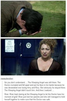 River protected her Doctor from the Weeping Angel after Amy and Rory were killed.  Her parents just died, and SHE'S the one who keeps her composure so the Doctor can have his melt down over his two best friends.  River is the perfect companion/wife for the Doctor, but he'll be the death of her. ;(