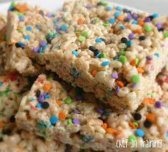 2/19/13--Cake Batter Rice Krispy Treats--I made these for youth group treats also. Unfortunately youth group was cancelled so they stayed at our house. I ate one and thought it was dry just like the Oreo ones. Not sure if our house is just that dry or if  I did something wrong. I would definitely make these with more marshmallows too.