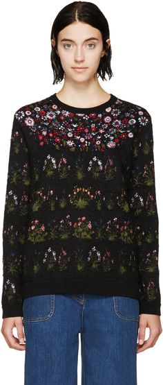 Valentino Black Floral Mohair Sweater