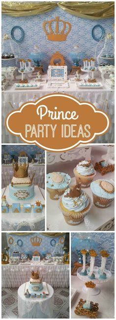 Here's a beautiful blue and gold party honoring a little prince! See more party ideas at CatchMyParty.com!