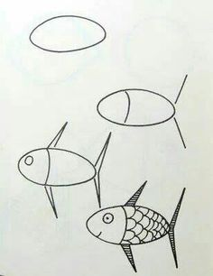 fish how to draw fishsimple - Easy Animal Drawing For Kids