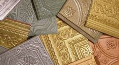Create your own ceiling tiles on standard Armstrong or thermoplastic tiles - Faux finished ceiling tile book by Urban Revivals. Consists of painted base coats with assorted glaze finishes.