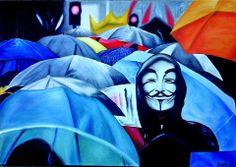 La marcha de los paraguas óleo sobre tela