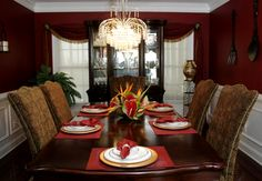 I would love a red dining room and I love these chairs!