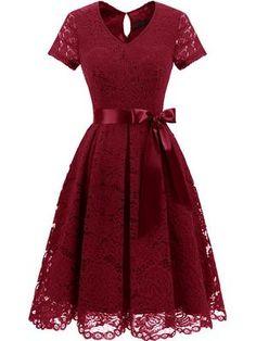 LaceShe Women's Elegant Floral Lace Dresses