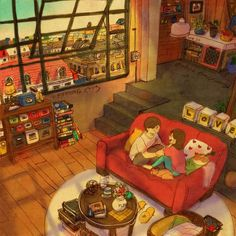 New Illustrations By Korean Artist Puuung - How Was Your Day? - We sat on the sofa and talked. I had a very exhausting day. Oh, really? Art And Illustration, Illustrations, Couple Drawings, Love Drawings, Love Is Sweet, Cute Love, Anime Couples, Cute Couples, Puuung Love Is