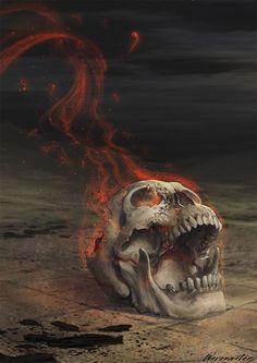skull is suffering from fire Skull Tattoos, Body Art Tattoos, Totenkopf Tattoos, Horror, Skull Artwork, Skulls And Roses, Skull Head, Vanitas, Grim Reaper