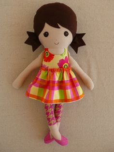 Fabric Doll Rag Doll Brown Haired Girl in Bright by rovingovine