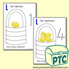 Lemon Themed Numeracy and Pencil Control - Letter 'l' - Primary Treasure Chest