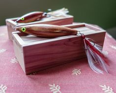 Hand Carved Fishing Lure with Cedar Box by CarvingsAndWoodwork, $20.00