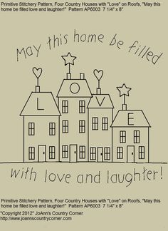 "Primitive Stitchery E-Pattern ""May this home be filled with love and laughter."". $1.98, via Etsy."