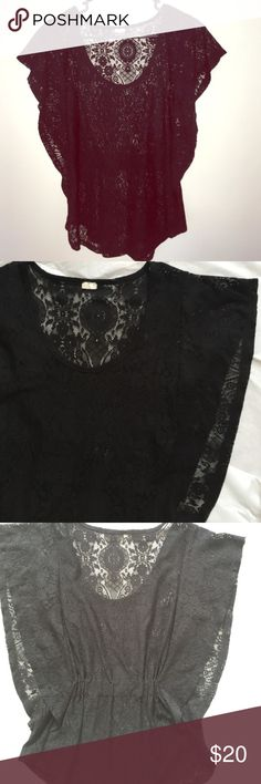 Black Lace Top | Butterfly Sleeves Great condition. Butterfly sleeves (see 2nd picture). Tag was cut out, but fits a women's small (up to a smaller medium). Tops