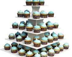5 tier bling faux rhinestone white cupcake stand tower wedding