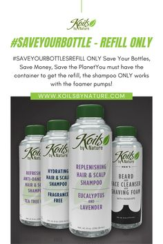 Use your current supply of Koils by Nature shampoo or beard wash, and don't forget to save your bottle. Order your next batch of Koils by Nature shampoo or beard wash which comes in a convenient refill bag. Refill your bottles. #hair #haircare #shampoo #gel #conditioner #foam