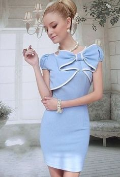 Baby Blue Vintage Dress with feature bow :)