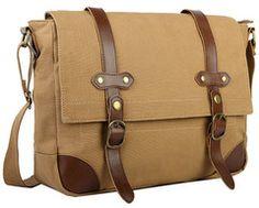 Canvas & Leather Messenger Bag For Men