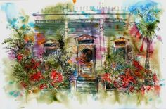 Florida Architectural Art Watercolor Pen and Ink by ruthsartwork, Pen And Watercolor, Watercolor Paintings, Ink Pen Art, Ink In Water, Modern Art, Florida, Colours, Water Colors, Abstract