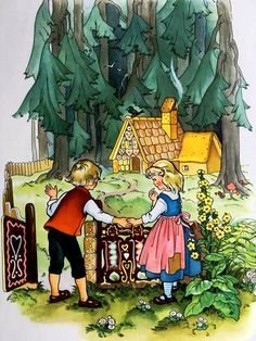 paintings from an old edition of Grimm's fairy-tales. The illustrator's name is not mentioned on the book. Hansel Y Gretel, Brothers Grimm, Vintage Fairies, Grimm Fairy Tales, Children's Book Illustration, Art Pages, Vintage Prints, Illustrators, Drawings