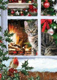 weihnachten bilder Tabby Cat 2 by The Macneil Studio Framed Art - Multi Christmas Scenes, Noel Christmas, Christmas Animals, Vintage Christmas Cards, Christmas Cats, Christmas Pictures, Christmas Greetings, Good Morning Christmas, Christmas Wreaths