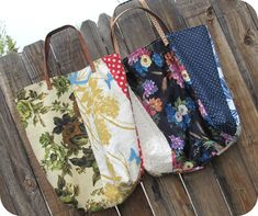 DIY tote bags - twobutterflies: How To Repurpose Scrap Fabric Into An Anthropologie Inspired Tote