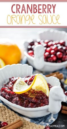 A cranberry sauce for Thanksgiving dinner, this cranberry sauce offers a hint of orange, delicious spices like cinnamon and nutmeg, and great on turkey.