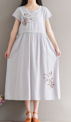Women loose fitting over plus size retro flower embroidery dress tunic pregnant #Unbranded #dress #Casual