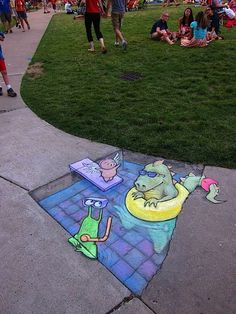 He works on the street in Ann Arbor Michigan. He should illustrate children's books as the man (David Zinn) is amazing. David Zinn is an artist from Michigan. He runs around all day in the st… 3d Street Art, Street Art Utopia, Amazing Street Art, Street Art Graffiti, Street Artists, Graffiti Artists, David Zinn, Pavement Art, 3d Chalk Art