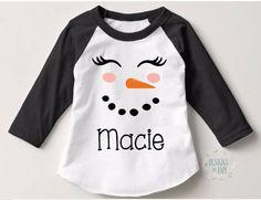 Monogram Snowman Shirt-Girls Cute Christmas Shirt-Monogram Christmas Shirts-Personalized Christmas Tee-Winterfest Shirt-Snowman Winter Shirt by DesignsByANM on Etsy
