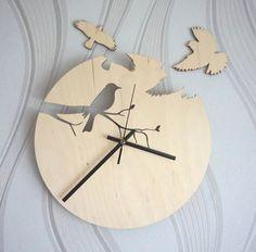 Wood wall clock/ Bird siluet clock/ Unique wall clock / Modern wooden clock on…