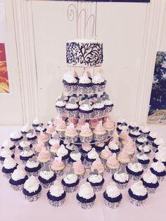 Wedding cake and cupcakes. #filligreecake #weddingcakes #weddingcupcakes #pinkandwhitewedding #blackandwhitewedding  #thejoyfulbakery www.thejoyfulbakery.com