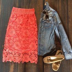 floral lace crochet pencil skirt with denim button down shirt